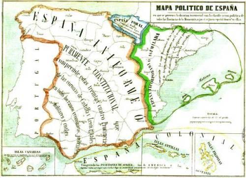 Mapa político de 1854 en el que se distingue la España uniforme, la Españ foral, la España incorporada o asimilada y la España colonial