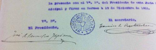 1911an, Jose Manuel Ispizua Bermeoko UBBeko lehendakaria zela, idazkari gisa jarri zuen sinadura