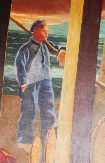 Ibon Basterretxea, Frantziskoren bigarren semea, Jose Mari Uzelai-k Bermeoko batzokirako marraztu zuen muralean