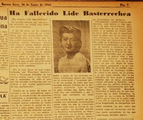 Lide Basterretxearen heriotzaren berri eman zuen Euzko Deya aldizkariaren orrialdea. Argazkian, Lide bera ikus daiteke.